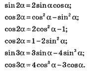 Формули подвійного і потрійного аргументу   ОСНОВНІ ФОРМУЛИ ТРИГОНОМЕТРІЇ